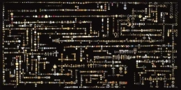 Endless Morphing Flow of Common Decorative Motifs, (Jewelry Case), 2002. Wood, glass, black lacquer, glue, string, buttons, jewelry, 98 x 34 x 50 inches. MP 02-3 (Detail)
