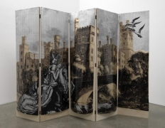 The Heir and Astaire Screen #1, 2010. Acetate, foil, mdf, 5 panels, 80 x 22 x 1 inches (each panel); 80 x 110 x 1 inches (overall). MP 133