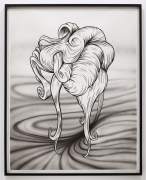 Untitled (Hair drawing), 2012. Airbrush and ink on paper, 61 x 49 inches (154.9 x 124.5 cm).