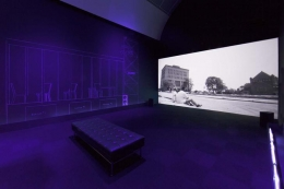 """""""Afterword Via Fantasia,"""" 2015. In collaboration with Charles Gaines, George Lewis and Sean Griffin. Installation view, """"The Freedom Principle"""" MCA Chicago."""