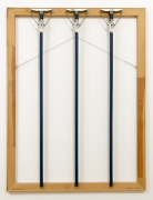 Three Blue Mops, 1986. Wooden stretcher bars, mop handles, wire,