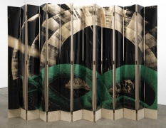 The Heir and Astaire Screen #3, 2010. Acetate, foil, mdf, 14 panels, 82 x 8 1/4 x 1 inches (each panel); 82 x 115.5 x 1 inches (overall). MP 135