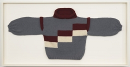 Sweater 3 (Ela), 2010. Wool sweater, 35 x 68 1/2 x 3 3/4 inches (framed) (88.9 x 174 x 9.5 cm). MP 81