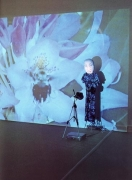 Fear Flower, 1999. Two LCD projectors, 2 VCRs, 2 videotapes, tripod, cloth, stand, performed by Tracy Leipold, dimensions variable. MP 270