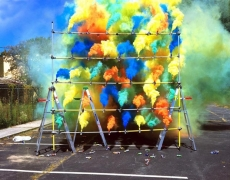 Smoke Bombs, 2008. Mounted c-print on 6mm sintra, framed, 61 x 76 inches (154.9 x 193 cm). MP P-47