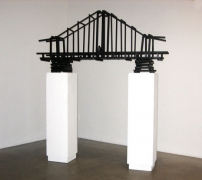 Olaf Breuning, The Bridge, 2009. Wood, paint, screws, plastic bananas, 30 x 66-1/2 x 12 inches (76.2 x 166.4 x 30.5 cm). MP 43