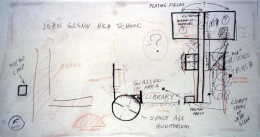 Repressed Spatial Relationships Rendered as Fluid, No. 5: John Glenn High School with White Panther Satellite, 2002. Mixed media on butcher paper mounted on rag paper, 33 3/4 x 62 inches. MP 02-17A
