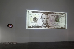 """Cell Phones Diagrams Cigarettes Searches and Scratch Cards,"" installation view, 2009. Metro Pictures, New York."