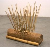 Traps for Birds of Prey, 1999. Wood, bait, 25 x 25 x 8-1/2 inches. MP 18