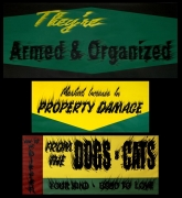 Gary Simmons triptych on paper 'Armed and Organized, Property Damage, Dogs & Cats'