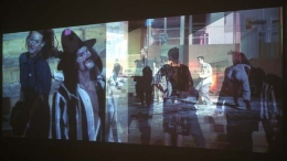 Catherine Sullivan, D-Pattern, 2004. Two-channel color video projection with sound, 8 minute loop. Edition of 6. MP F-13