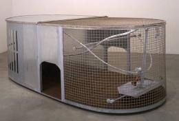 Dog Trap, 1999. Metal, wood, 41-1/4 x 123 x 59-3/4 inches. MP 20