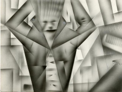 Mirror Comb, 1979/2012. Airbrush, pencil and colored pencil on paper,