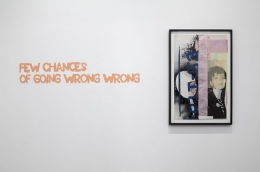 Paulina Olowska, Few chances of going wrong wrong, 2009. Silkscreen on paper and fabric, glue, colored gels, tape, foil, 34-5/8 x 21-1/2 inches (84.8 x 52.1 cm); framed: 38-5/8 x 25-5/8 inches (94.9 x 61.9 cm). MP D-48