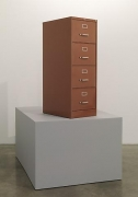 Untitled, 2011. Staples Brown four-drawer file cabinet with powder coated metal flake finish,file cabinet - 52 x 27 1/2 x 18 inches / 132.1 x 69.9 x 45.7 cm; plinth - 33 1/4 x 62 1/4 x 46 3/4 inches / 84.5 x 158.1 x 118.7 cm.