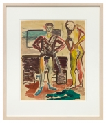 Untitled (Ensor). Two Chalk, watercolor on paper, each: 13.74 x 5.67 inches (34.9 x 14.4 cm).