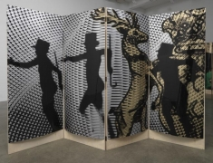 The Heir and Astaire Screen #2, 2010. Acetate, foil, mdf, 4 panels, 77 x 29 3/4 x 1 inches (each panel); 77 x 119 x 1 inches (overall). MP 134