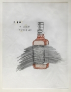 DG Krueger, Conversational Tools, ink, pencil, correction fluid, drawings on vellum, Jim & Amy (vodka), Vanishing Acts