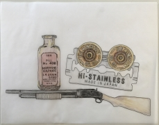 DG Krueger, Conversational Tools, drawings, ink, vellum, drugs, blades and shotguns