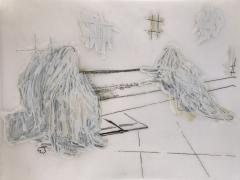 Sleepers, DG Krueger, drawings, vellum, unique, work on paper,
