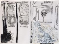 Sleepers, DG Krueger, drawing, vellum, unique, work on paper, homeless