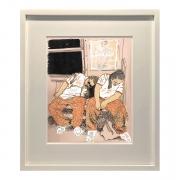 Sleepers, DG Krueger, drawings, hand colored photograph, sleeping commuters