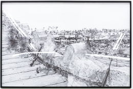 Group Show with Commonwealth and Council: Kang Seung Lee, Untitled (Korean Merchants on the Rooftop) (2017). Inkjet print, frame, 32.75 x 48.75 x 2 inches (83.2 x 123.8 x 5.1 cm)