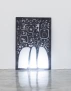 Group Show with Commonwealth and Council: Gala Porras-Kim, Mesoamerican Negative Space 2 (2017). Plexiglas, graphite, fluorescent light, 48 x 32.75 x 0.75 inches (121.9 x 83.2 x 1.9 cm)