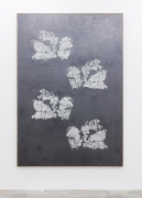 Group Show with Commonwealth and Council: Gala Porras-Kim,  2 embroidered fragments from Kertch reconstruction (2018). Graphite on paper, artist's frame, 104.25 x 72 x 2 inches (264.8 x 182.9 x 5.1 cm)