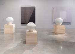 Moon jars by Korean master ceramicist Kang Minsoo, Paintings by Park Seo-Bo, Imcomplete Perfection present by Vintage 20 at Tina Kim Gallery