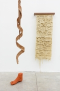 Group Show with Commonwealth and Council: Clarissa Tossin, ucham K'awiil (2018). Silicone, walnut, faux serpent skin, quetzal faux feather (dyed rooster feather), faux terracotta (dyed plaster), dimensions variable