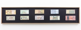 Group Show with Commonwealth and Council: Carolina Caycedo, Vocabulary and Infrastructure/Vocabulario e infrasstructura (after The Distance Plan) (2017). Marker on 10 banknotes, frame, 10 x 47 x 1.5 inches (25.4 x 119.4 x 3.8 cm)