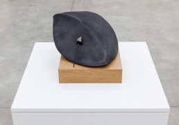 Group Show with Commonwealth and Council: Gala Porras-Kim, Reconstructed Southwest Artifact 2 (2018). Found artifact, graphite on unglazed ceramic, steel, mahogany, 9.75 x 12 x 13.5 inches (24.8 x 30.5 x 34.3 cm); wooden base: 1.75 x 7.25 x 7.25 in