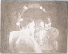 Self Portrait as Barbette (from Panel Series), 2005, Ink on panel