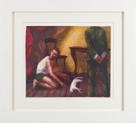 Innocent Man with Cleaver and Red Drape, 1989, Oil on gessoed paper