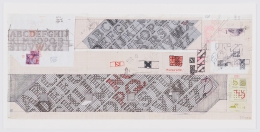 Preparatory drawing for Paving the Way (Bronx Borough Center Library, New York), 2003, Mixed media on collaged graph paper