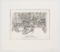 The Undiscovered Amerindians: ¡Oye Guati-Guapa!, 2012, Intaglio, engraving, and drypoint etching on paper, 21h x 18.3w in (53.3h x 46.5w cm)