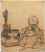 Self Portrait with Book, 1978, Graphite on paper