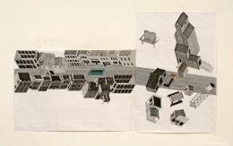 Tomb for John Berryman, 1972-2012, Felt pen on graph paper