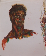Self Portrait III, 1979, Oil pastel and graphite on paper