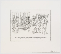 """The Undiscovered Amerindians:""""Oh Please!"""" Begged the Gentleman at the Whitney Biennial, 2012, Intaglio, engraving, and drypoint etching on paper,21h x 18.3w in (53.3h x 46.5w cm)"""