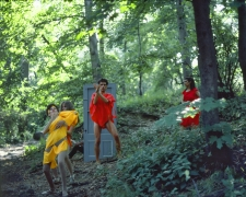Rivers, First Draft: The Debauchees dance down the hill, the Woman in Red falls further behind, 1982/2015, Digital C-print in 48 parts,16h x 20w in (40.64h x 50.80w cm)