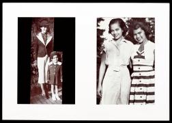 Miscegenated Family Album (Hero Worship), L: Devonia, age 14; and Lorraine, age 3; R: Devonia, age 24; and Lorraine, age 13, 1980/1994, Cibachrome prints, 26h x 37w in (66.04h x 93.98w cm)