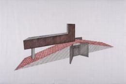 Tomb for Neema, 2014, Felt pen on graph paper