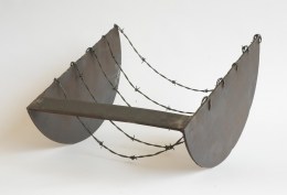 Five to the Bar, 1973, Welded steel and barbed wire