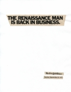Cutting Out the New York Times, The Renaissance Man is Back in Business, 1977/2010, Part 1 of 11, Toner ink on adhesive paper, 11.02h x 86.60w in (27.99h x 219.97w cm)