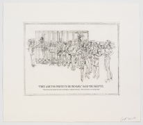 """The Undiscovered Amerindians:""""They Are Too White to Be Indians,"""" Said the Skeptic, 2012, Intaglio, engraving, and drypoint etching on paper,21h x 18.3w in (53.3h x 46.5w cm)"""