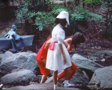 Rivers, First Draft: The Woman, the Teenager in Magenta, and the Little Girl in Pink Sash steady each other's footing, 1982/2015, Digital C-print in 48 parts, 16h x 20w in (40.64h x 50.80w cm)