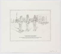The Undiscovered Amerindians:I Enjoyed Your Show, 2012, Intaglio, engraving, and drypoint etching on paper,21h x 18.3w in (53.3h x 46.5w cm)