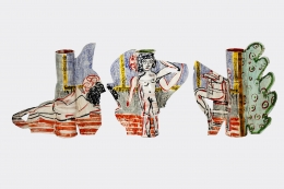 Betty Woodman, Kamin Posing, 2009, Glazed earthenware, epoxy resin, lacquer, acrylic paint